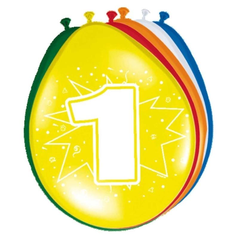 16x stuks Versiering 1 jaar ballonnen 30 cm