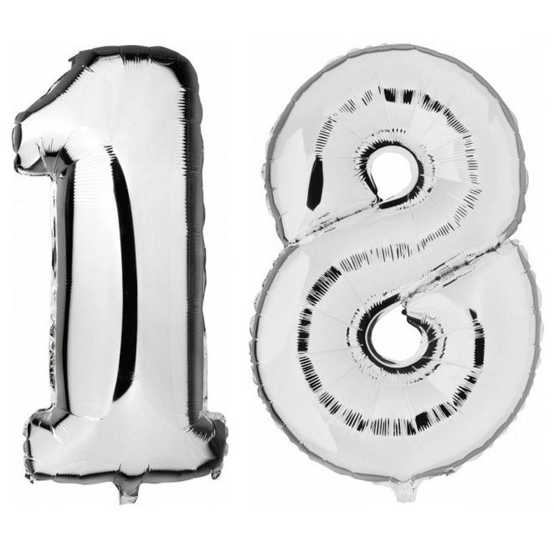 18 jaar zilveren folie ballonnen 88 cm leeftijd/cijfer