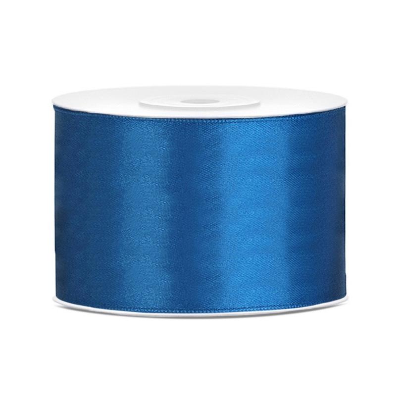 1x Hobby/decoratie blauw satijnen sierlinten 5 cm/50 mm x 25 meter