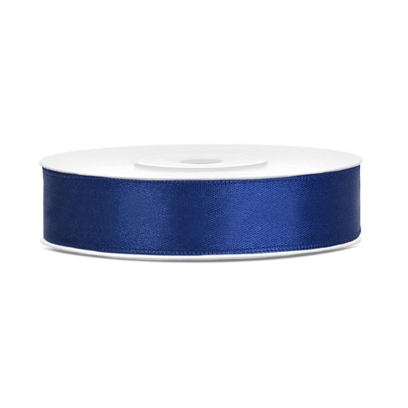 1x Hobby/decoratie donker blauw satijnen sierlinten 1,2 cm/12 mm x 25 meter