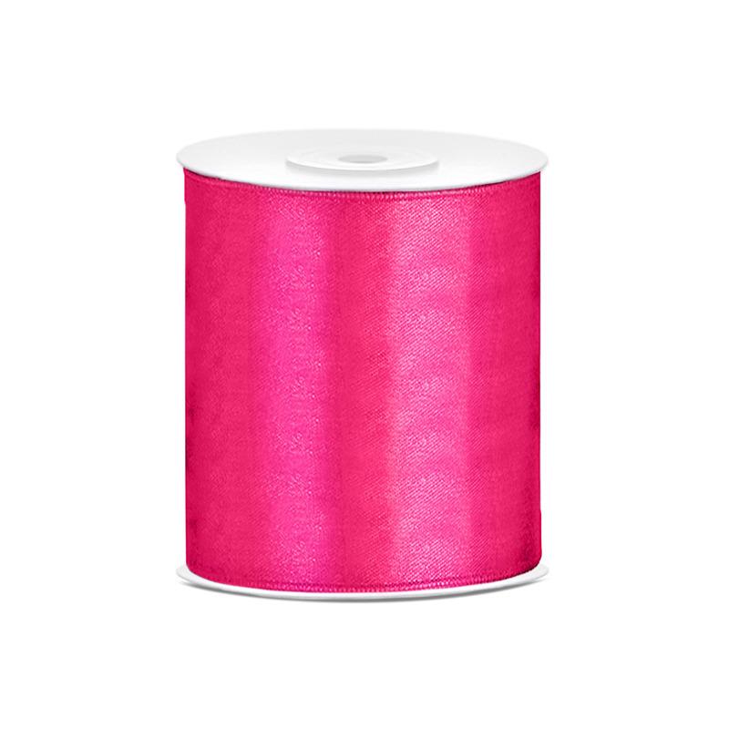1x Hobby/decoratie fuchsia roze satijnen sierlint 10 cm/100 mm x 25 meter