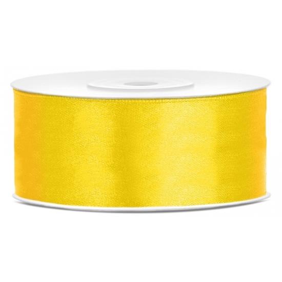 1x Hobby/decoratie geel satijnen sierlint 2,5 cm/25 mm x 25 meter