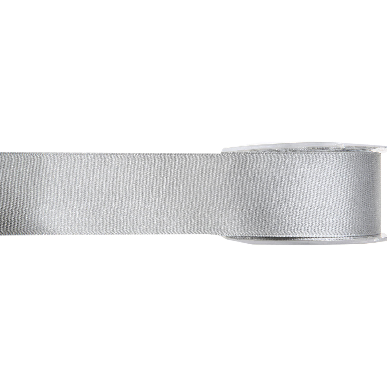 1x Hobby/decoratie grijze satijnen sierlinten 1,5 cm/15 mm x 25 meter