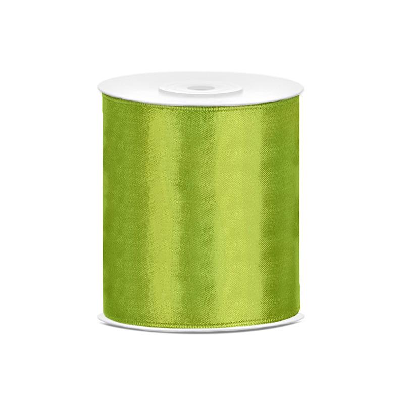 1x Hobby/decoratie groen satijnen sierlint 10 cm/100 mm x 25 meter