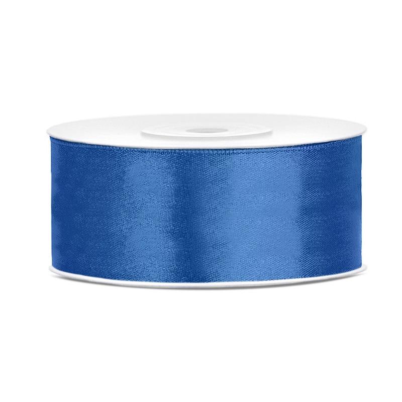1x Hobby/decoratie helderblauw satijnen sierlint 2,5 cm/25 mm x 25 meter