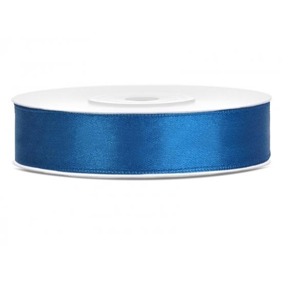 1x Hobby/decoratie kobaltblauw satijnen sierlint 1,2 cm/12 mm x 25 meter