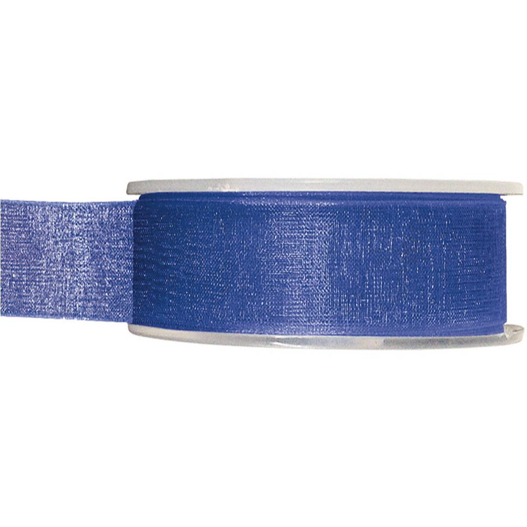 1x Hobby/decoratie kobaltblauwe organza sierlinten 2,5 cm/25 mm x 20 meter