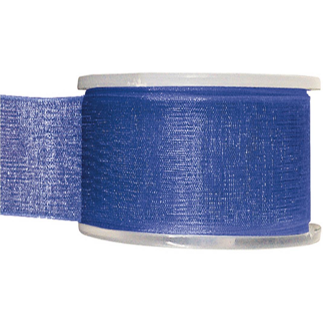 1x Hobby/decoratie kobaltblauwe organza sierlinten 4 cm/40 mm x 20 meter