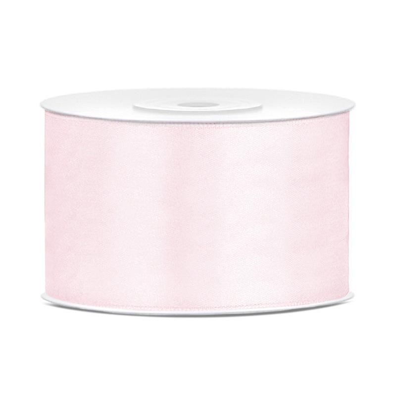 1x Hobby/decoratie licht poeder roze satijnen sierlinten 3,8 cm/38 mm x 25 meter