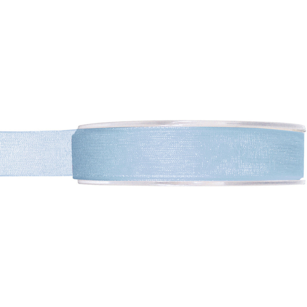 1x Hobby/decoratie lichtblauwe organza sierlinten 1,5 cm/15 mm x 20 meter