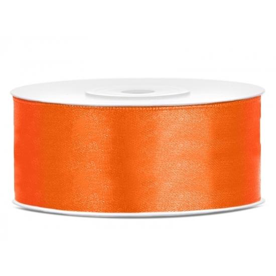 1x Hobby/decoratie oranje satijnen sierlint 2,5 cm/25 mm x 25 meter