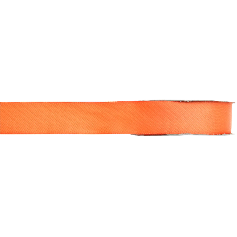 1x Hobby/decoratie oranje satijnen sierlinten 1 cm/10 mm x 25 meter