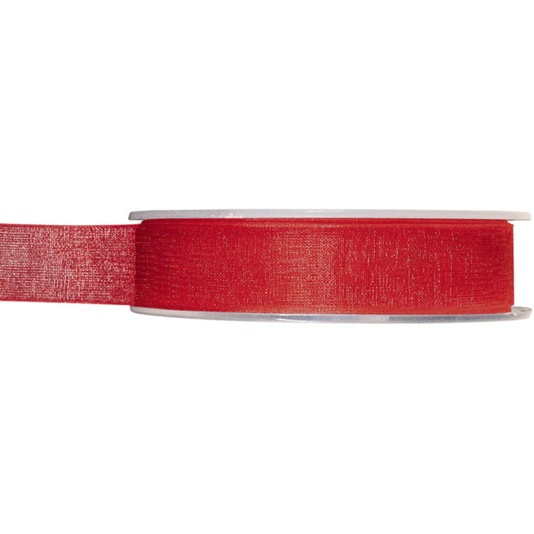 1x Hobby/decoratie rode organza sierlinten 1,5 cm/15 mm x 20 meter