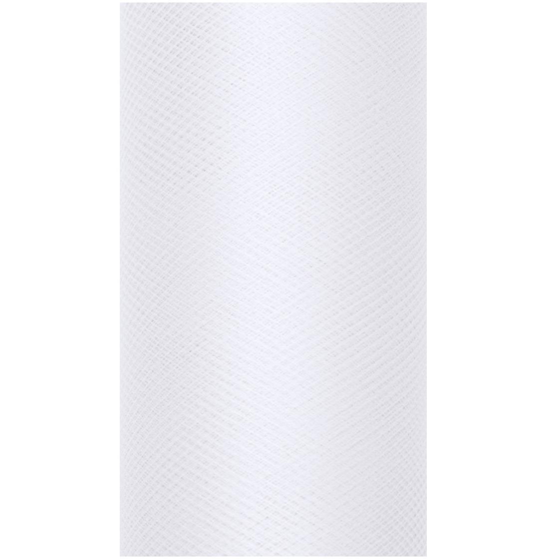 1x Hobby/decoratie witte tule stof op rol 15 cm x 9 meter