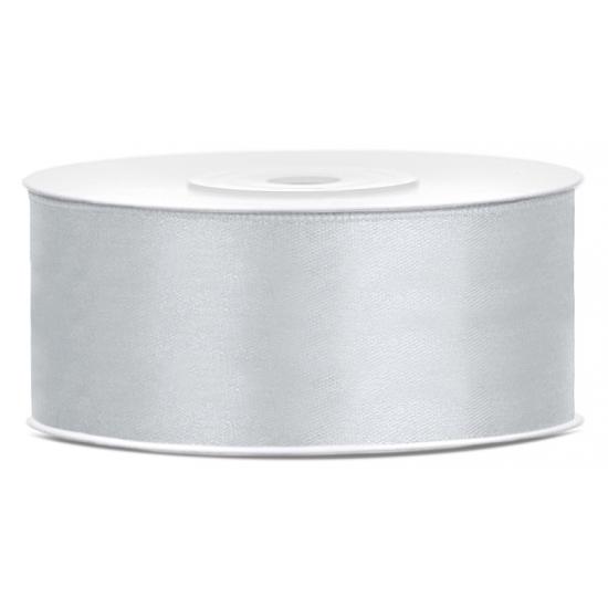 1x Hobby/decoratie zilver satijnen sierlint 2,5 cm/25 mm x 25 meter