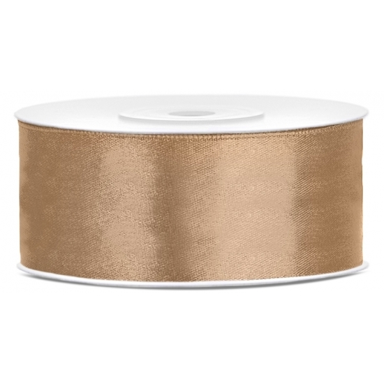 1x Hobby/decoration goud satin ribbon 1.5 cm/25 mm x 25 meters