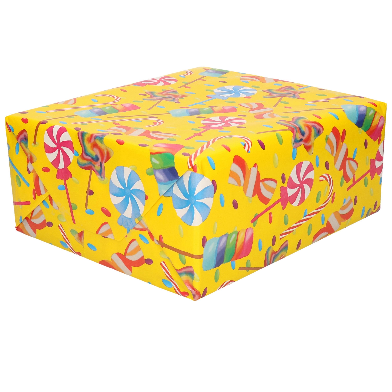 1x Inpakpapier/cadeaupapier geel met gekleurde lollies 200 x 70 cm op rol