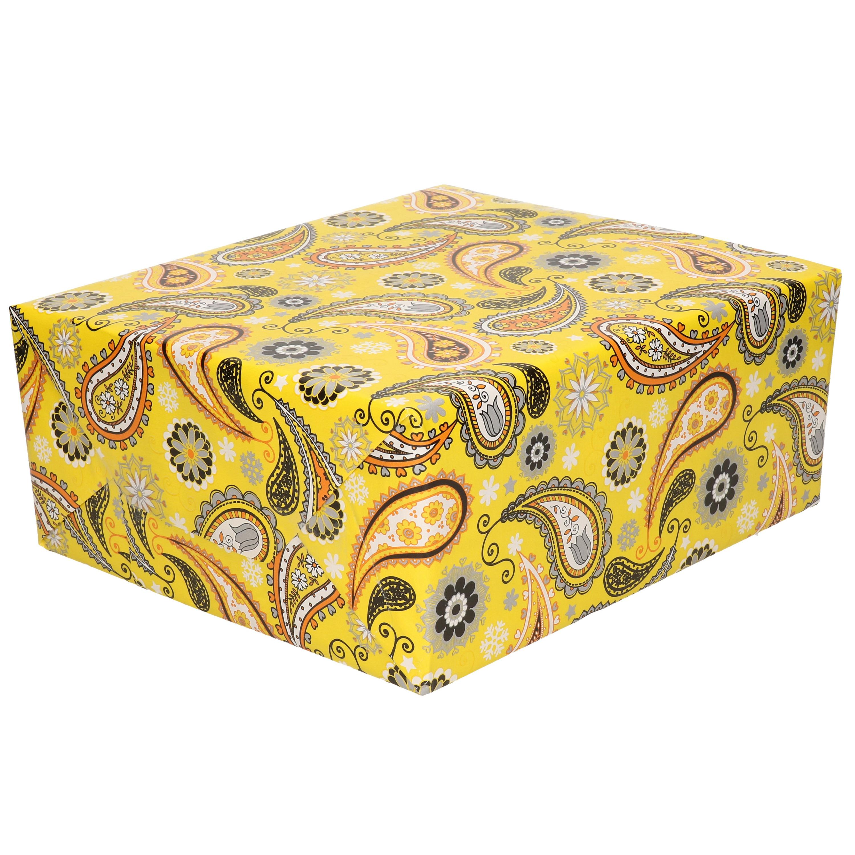 1x Inpakpapier/cadeaupapier geel met kasjmier/paisley motief 200 x 70 cm rol