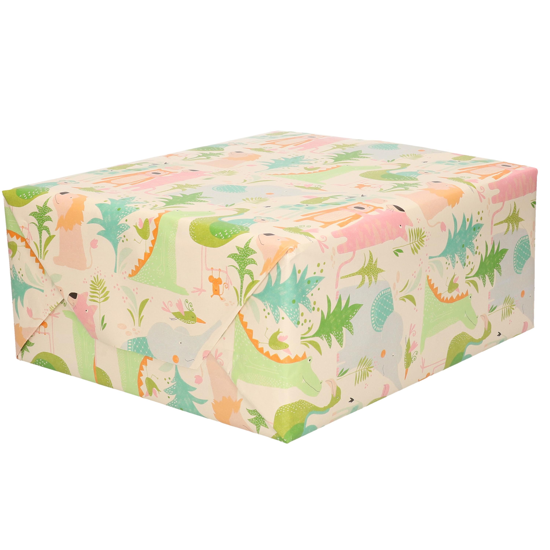 1x Inpakpapier - cadeaupapier pastel tinten jungle dieren thema 200 x 70 cm