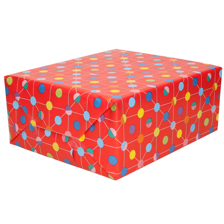 1x Inpakpapier/cadeaupapier rood met gekleurde stippen 200 x 70 cm op rol