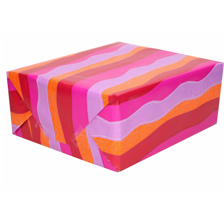 1x Inpakpapier/cadeaupapier roze/paars/oranje/rood in golf 200 x 70 cm