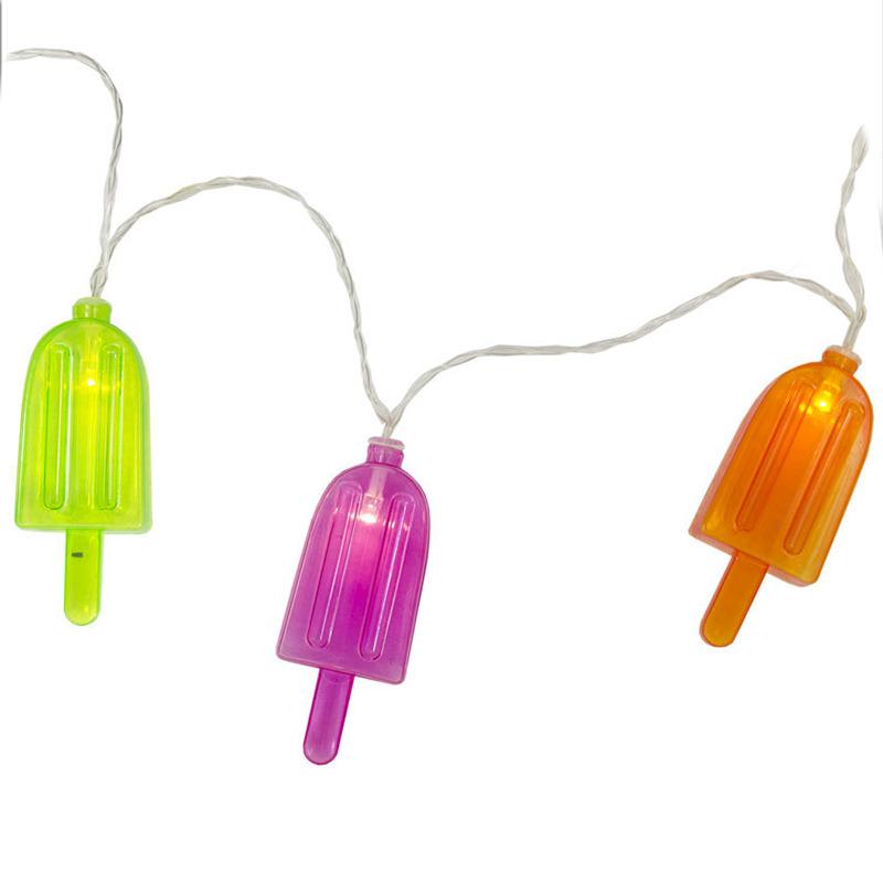 1x LED lichtsnoeren met gekleurde ijsjes 1 meter binnen/buiten feestverlichting