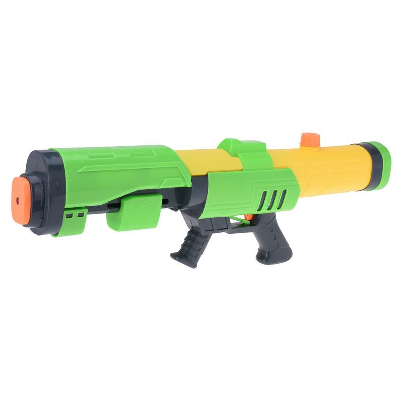 1x Mega waterpistolen/waterpistool met pomp groen/geel van 63 cm kinderspeelgoed