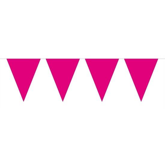 1x Mini vlaggenlijn - slinger magenta roze 300 cm