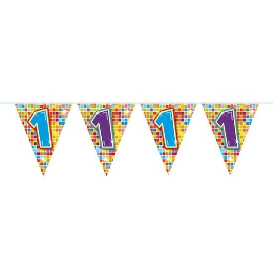 1x Mini vlaggenlijn - slinger verjaardag versiering 1 jaar
