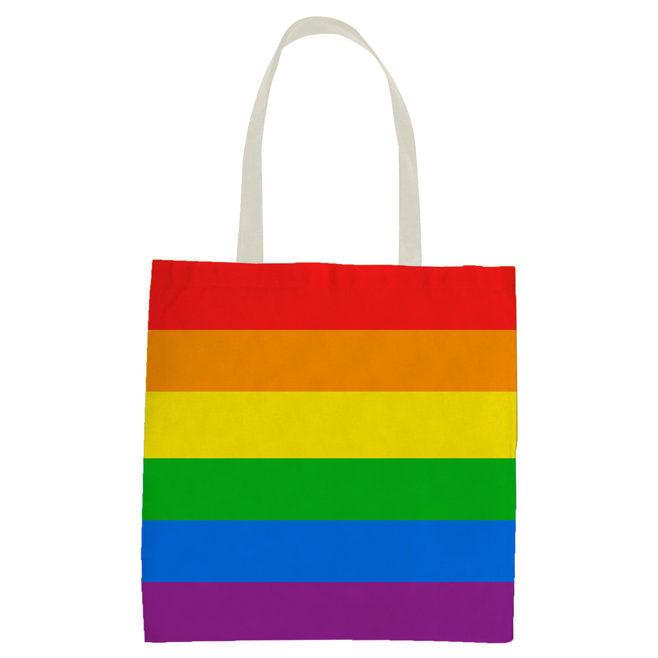 1x Polyester boodschappentasje/shopper regenboog/rainbow/pride vlag voor volwassenen en kids