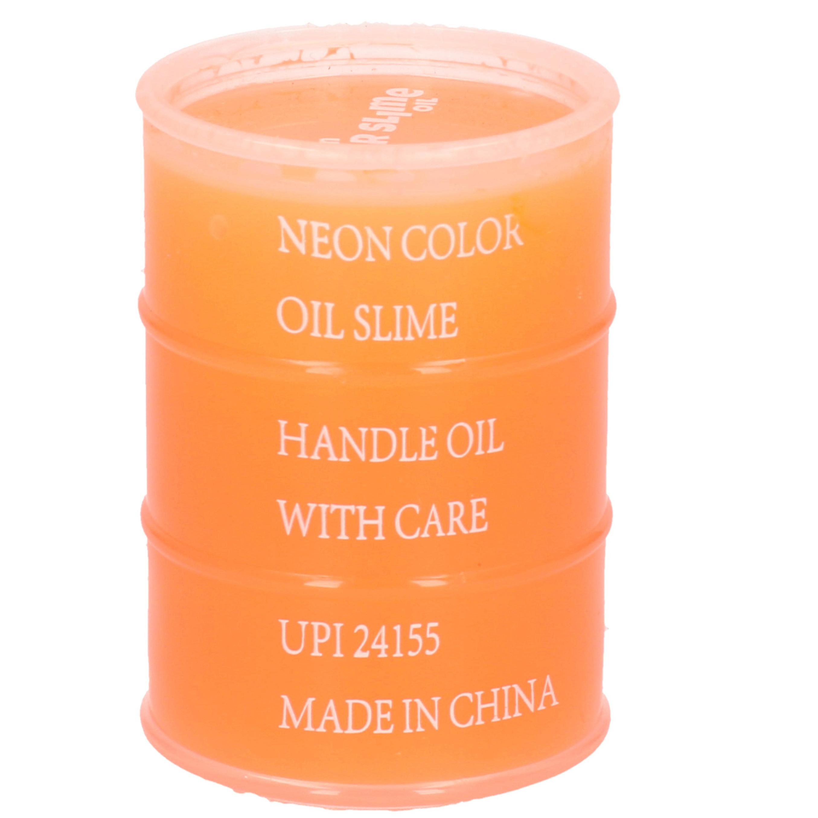 1x Potjes speelgoed/hobby slijm oranje in olievat 5,5 x 8 cm 150 ml inhoud1x Potjes speelgoed/hobby