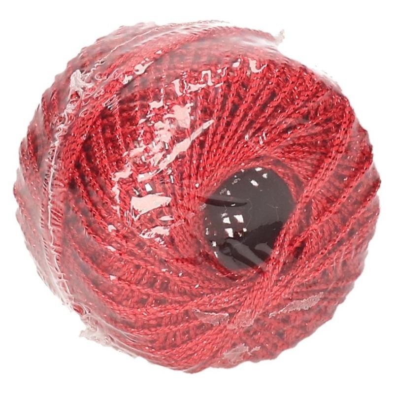 1x Rode glitter touw 20 meter hobby/cadeaulint