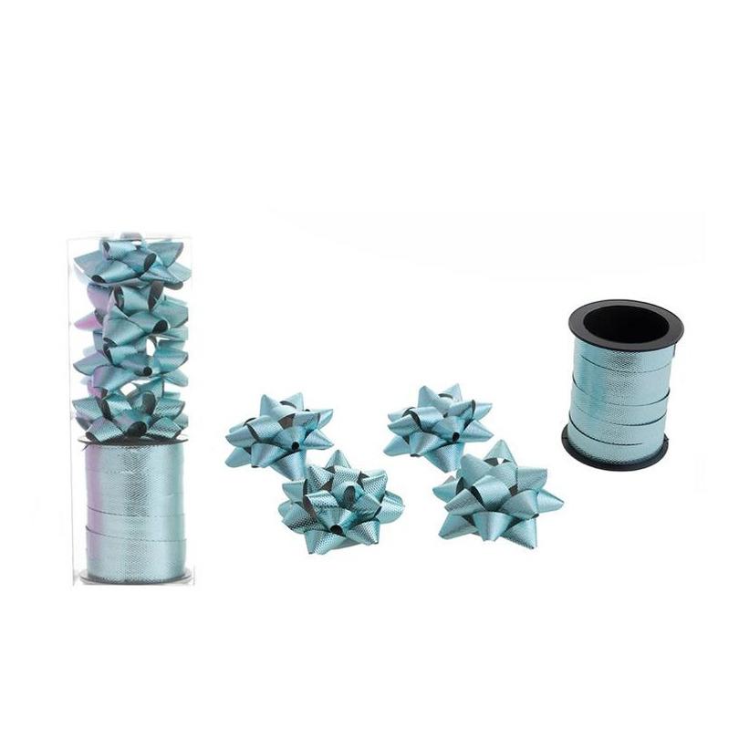 1x Rol cadeaulint sierlint 10 meter blauw en 4 strikjes