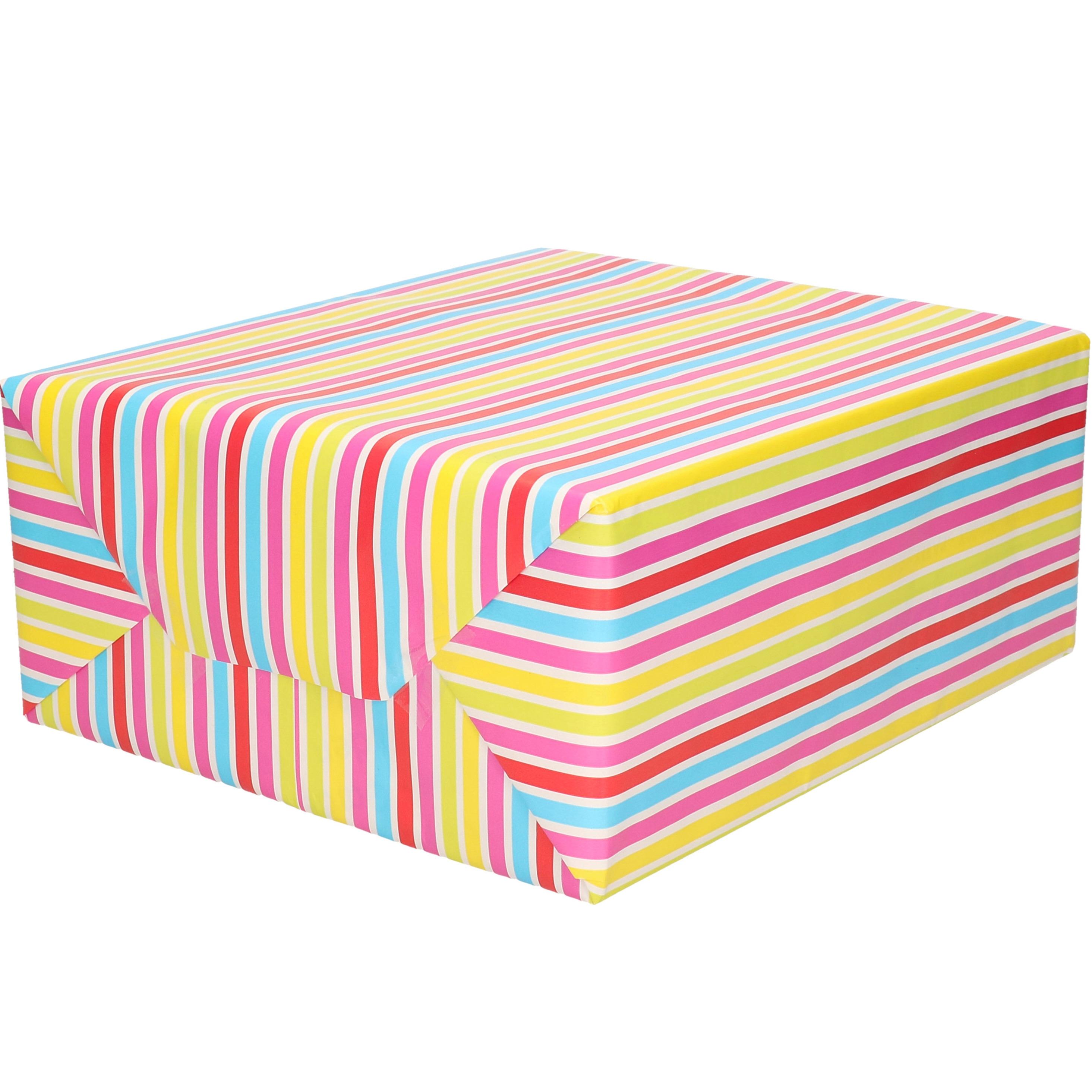 1x Rol Inpakpapier/cadeaupapier gekleurde streepjes design 200 x 70 cm