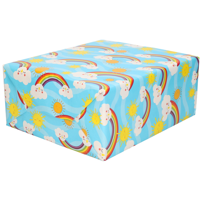 1x Rollen Inpakpapier/cadeaupapier blauw met wolkjes - regenboog print 200 x 70 cm rol