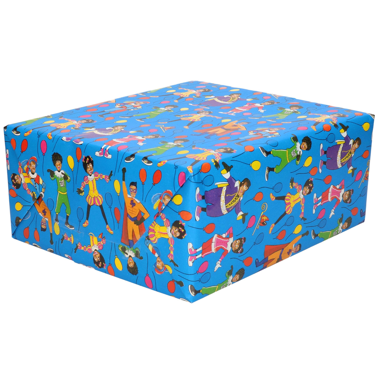 1x Rollen inpakpapier/cadeaupapier Club van Sinterklaas blauw 200 x 70 cm