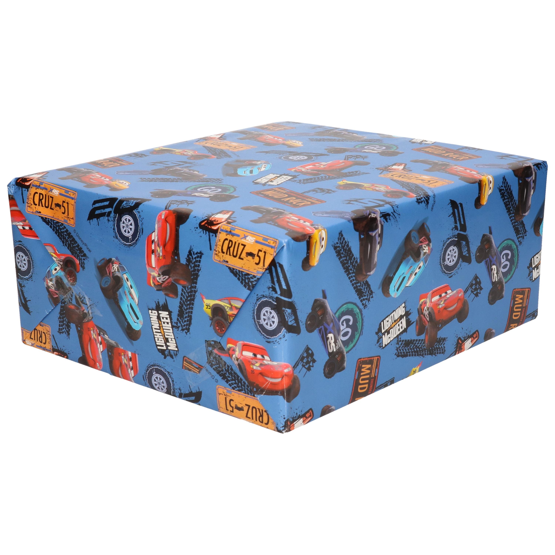 1x Rollen inpakpapier/cadeaupapier Disney Cars XRS blauw 200x70 cm