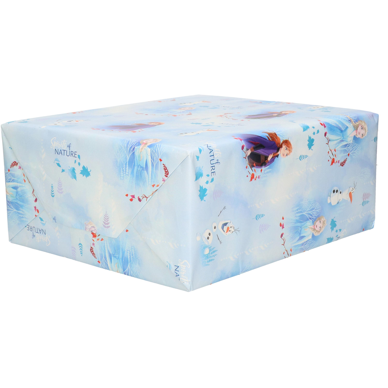 1x Rollen inpakpapier/cadeaupapier Disney Frozen Elza/Olaf/Anna blauw 200 x 70 cm