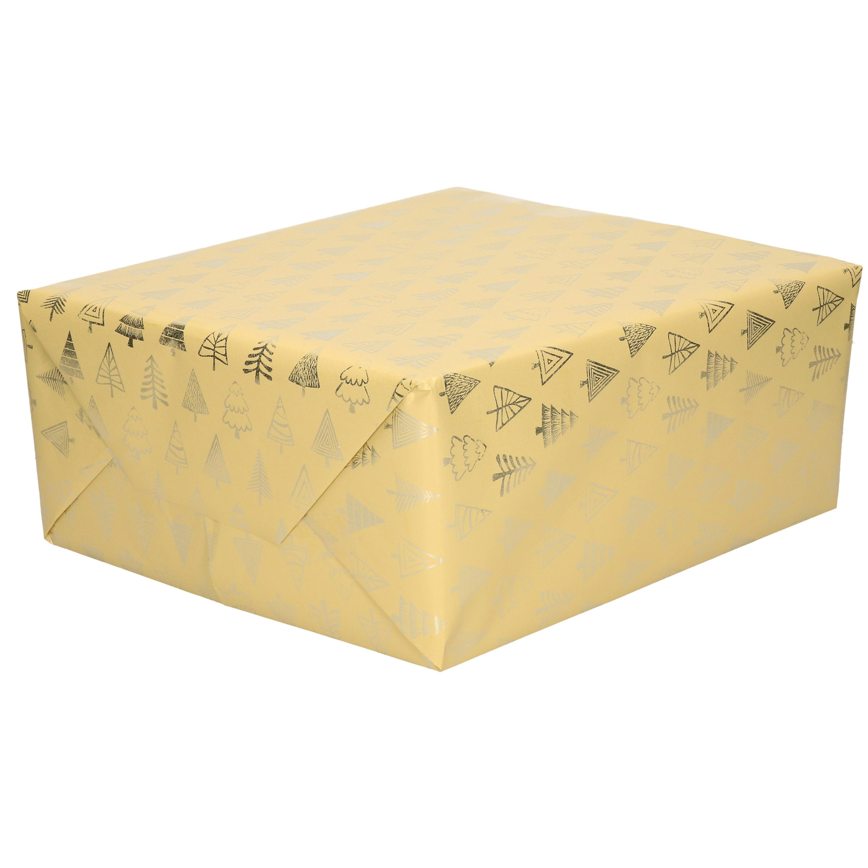 1x Rollen Kerst inpakpapier/cadeaupapier beige/gouden bomen 2,5 x 0,7 meter