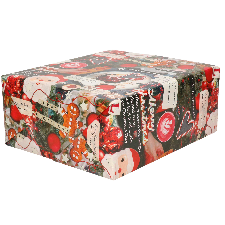 1x Rollen Kerst inpakpapier/cadeaupapier gekleurd met songteksten 2,5 x 0,7 meter