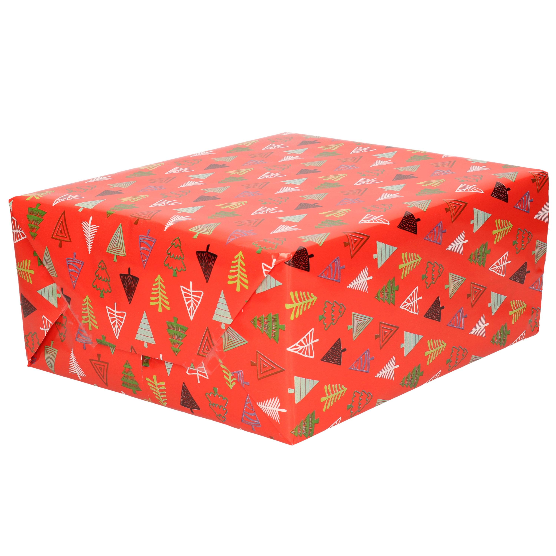 1x Rollen Kerst inpakpapier/cadeaupapier rood/gekleurde bomen 2,5 x 0,7 meter