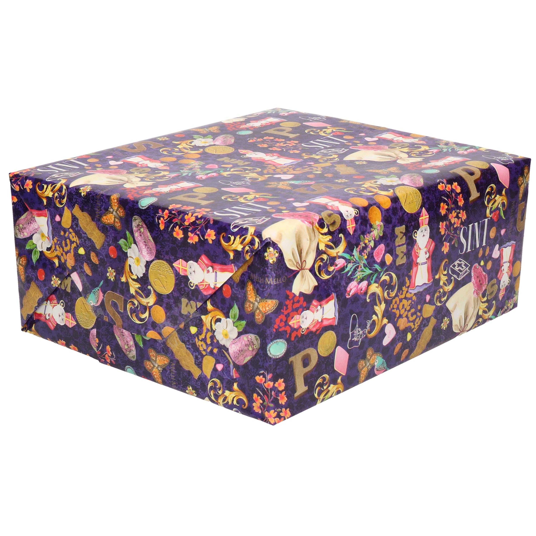 1x Rollen Sinterklaas inpakpapier/cadeaupapier gekleurd 2,5 x 0,7 meter
