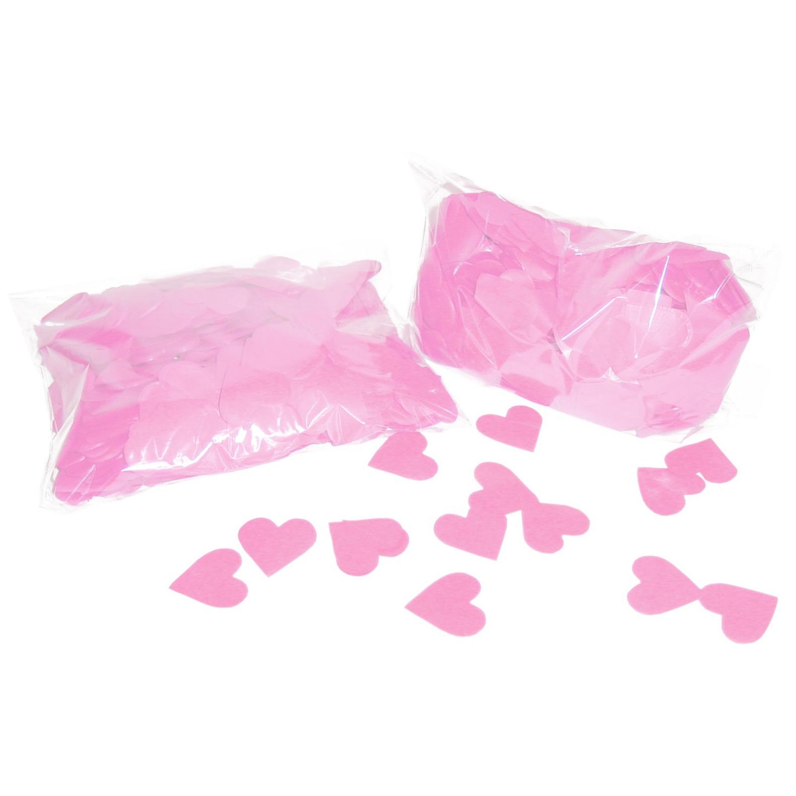 1x Roze hartjes confetti mix zakje 250 gram