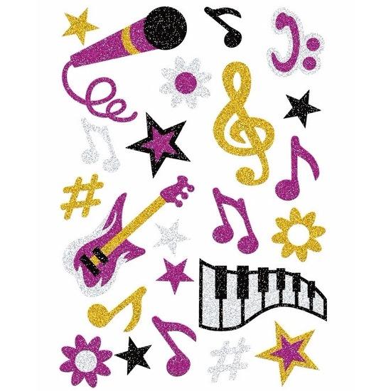 1x set muziek glitter stickers