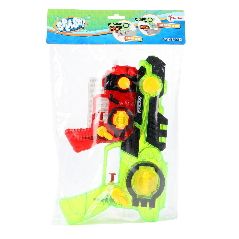 1x Waterpistolen/waterpistool groen/rood 2-delig van 26 cm kinderspeelgoed