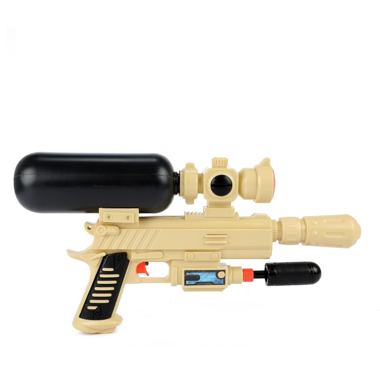 1x Waterpistolen/waterpistool leger beige/zwart van 44 cm kinderspeelgoed