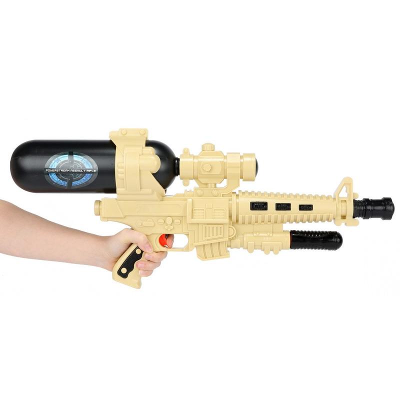 1x Waterpistolen/waterpistool leger beige/zwart van 60 cm kinderspeelgoed