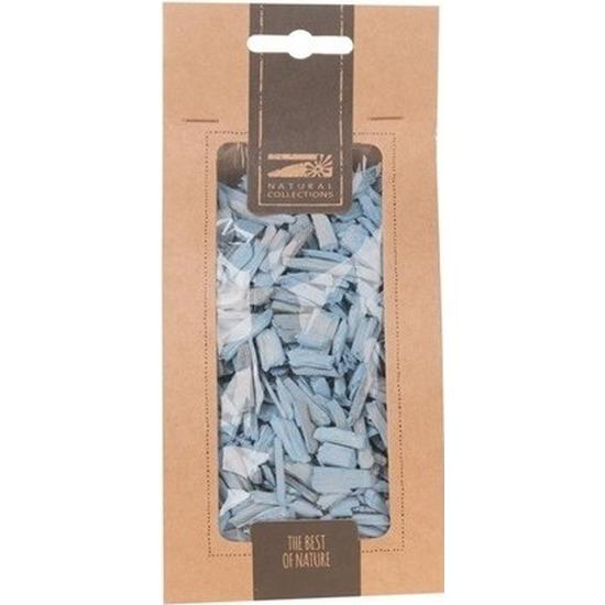 1x Zakje lichtblauwe houtsnippers 150 gram geboorte decoratie