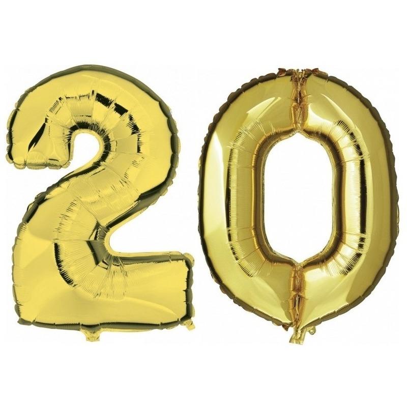 20 jaar gouden folie ballonnen 88 cm leeftijd/cijfer