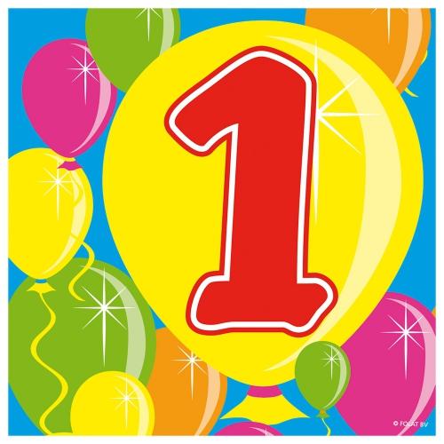 20x 1 jaar leeftijd themafeest servetten Balloons 25 x 25 cm
